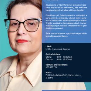 Obnovení provozu psychiatrické ambulance - MUDr. Humenská Dagmar